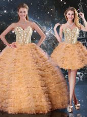 Beading and Ruffled Layers Sweet 16 Quinceanera Dress Orange Lace Up Sleeveless Floor Length