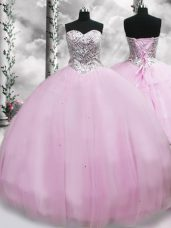 Brush Train Ball Gowns Sweet 16 Dresses Lilac Sweetheart Tulle Sleeveless Lace Up