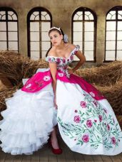 Designer Sleeveless Embroidery and Ruffled Layers Lace Up Ball Gown Prom Dress