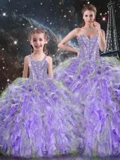 Organza Sweetheart Sleeveless Lace Up Beading and Ruffles Quinceanera Gown in Lavender