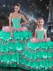 Pretty Floor Length Multi-color Quinceanera Gown Sweetheart Sleeveless Lace Up