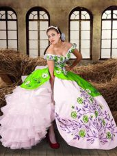 Luxury Sleeveless Lace Up Floor Length Embroidery and Ruffled Layers Vestidos de Quinceanera