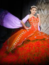 Orange Red Ball Gowns Embroidery and Ruffles Vestidos de Quinceanera Lace Up Organza Sleeveless