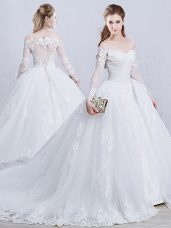 Sexy White Ball Gowns Tulle Off The Shoulder Long Sleeves Lace and Appliques Zipper Wedding Dress Brush Train