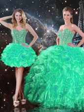 Sweet Turquoise Organza Lace Up Vestidos de Quinceanera Sleeveless Floor Length Beading and Ruffles