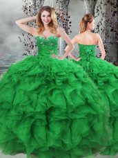 Designer Green Sleeveless Organza Lace Up Quinceanera Dresses for Military Ball and Sweet 16 and Quinceanera