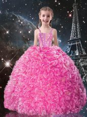 Unique Floor Length Lace Up Teens Party Dress Rose Pink for Quinceanera and Wedding Party with Beading and Ruffles