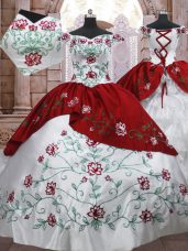 White And Red Sleeveless Floor Length Embroidery and Ruffled Layers Lace Up Quinceanera Dresses
