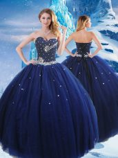 Navy Blue Quinceanera Dress Military Ball and Sweet 16 and Quinceanera with Beading Sweetheart Sleeveless Lace Up
