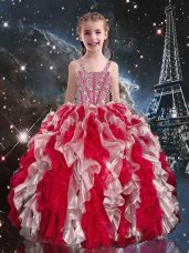 Wine Red Straps Neckline Beading and Ruffles Little Girl Pageant Dress Sleeveless Lace Up