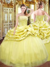 Fine Floor Length Gold 15 Quinceanera Dress Strapless Sleeveless Lace Up