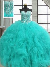 New Arrival Sleeveless Organza Floor Length Lace Up Sweet 16 Dress in Turquoise with Beading and Ruffles