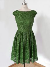 Olive Green Scoop Neckline Lace Bridesmaid Dress Cap Sleeves Lace Up