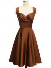 Glittering Chocolate Wedding Guest Dresses Prom and Party and Wedding Party with Ruching Straps Sleeveless Lace Up