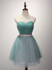 Green A-line Beading and Ruching Quinceanera Court of Honor Dress Lace Up Tulle Sleeveless Mini Length