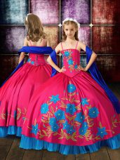 New Arrival Hot Pink Lace Up Spaghetti Straps Embroidery Little Girl Pageant Dress Taffeta Sleeveless