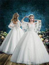 Free and Easy White Lace Up Toddler Flower Girl Dress Lace Half Sleeves Floor Length