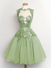 Fantastic Green Bridesmaid Dresses Prom and Party and Wedding Party with Lace High-neck Sleeveless Lace Up