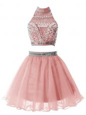 Pink Wedding Party Dress Party and Wedding Party with Beading High-neck Sleeveless Zipper