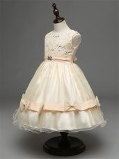 Modest Champagne Zipper Flower Girl Dress Lace and Bowknot Sleeveless Knee Length