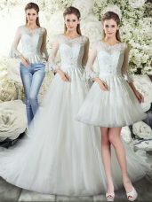 Clearance Court Train Three Pieces Bridal Gown White V-neck Tulle 3 4 Length Sleeve Zipper