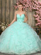 Attractive Ball Gowns Ball Gown Prom Dress Apple Green Sweetheart Tulle Sleeveless Floor Length Lace Up
