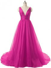 Exquisite Fuchsia Junior Homecoming Dress Organza Brush Train Sleeveless Ruching