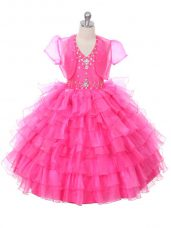 Hot Pink Halter Top Neckline Beading and Ruffled Layers Teens Party Dress Sleeveless Lace Up