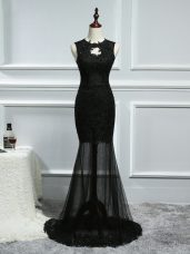 Sleeveless Lace and Appliques Backless Womens Evening Dresses with Black Brush Train