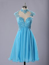 Baby Blue Sleeveless Lace and Appliques Knee Length Evening Dress