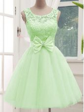 Knee Length Lace Up Vestidos de Damas Yellow Green for Prom and Party and Wedding Party with Lace and Bowknot