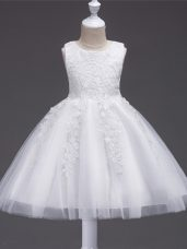 Designer Sleeveless Zipper Knee Length Appliques Flower Girl Dresses for Less