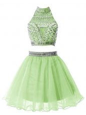Affordable Sleeveless Organza Knee Length Zipper Wedding Guest Dresses in Yellow Green with Beading