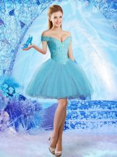 Aqua Blue Ball Gowns Off The Shoulder Sleeveless Tulle Mini Length Lace Up Lace and Appliques