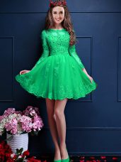 Apple Green Quinceanera Dama Dress Prom and Party with Beading and Lace and Appliques Scalloped 3 4 Length Sleeve Lace Up