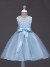 Lace and Belt Flower Girl Dress Light Blue Zipper Sleeveless Knee Length