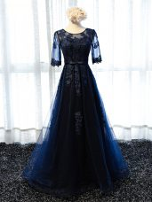 Fashionable Floor Length A-line Half Sleeves Navy Blue Prom Dress Lace Up