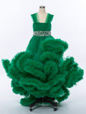 Dark Green Straps Neckline Beading and Hand Made Flower Girls Pageant Dresses Sleeveless Lace Up