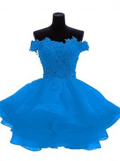 Designer Blue Off The Shoulder Zipper Lace and Appliques and Ruffles Homecoming Dress Sleeveless