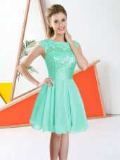 Knee Length Turquoise Bridesmaid Gown Chiffon Sleeveless Beading and Lace