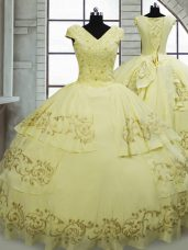 Elegant Light Yellow Cap Sleeves Satin and Chiffon Brush Train Lace Up 15 Quinceanera Dress for Military Ball and Sweet 16 and Quinceanera