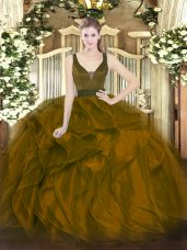Floor Length Brown Quinceanera Dresses Organza Sleeveless Beading and Ruffles