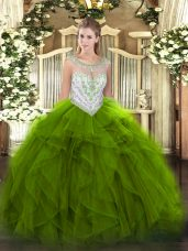 Designer Green Zipper Quinceanera Gown Beading and Ruffles Sleeveless Floor Length