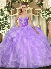 Lavender Lace Up Sweetheart Beading and Ruffles Ball Gown Prom Dress Organza Sleeveless