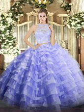 Sleeveless Zipper Floor Length Lace and Ruffled Layers Quince Ball Gowns