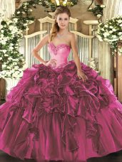 Noble Fuchsia Sleeveless Organza Lace Up Sweet 16 Quinceanera Dress for Military Ball and Sweet 16 and Quinceanera
