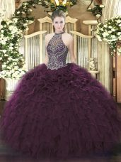 Dark Purple Sweet 16 Dress Sweet 16 and Quinceanera with Beading and Ruffles Halter Top Sleeveless Lace Up
