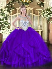 Traditional Purple Scoop Zipper Beading and Ruffles 15th Birthday Dress Sleeveless