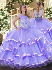 Most Popular Scoop Sleeveless Organza Sweet 16 Dresses Beading and Ruffled Layers Zipper