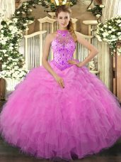 Rose Pink Ball Gowns Halter Top Sleeveless Organza Floor Length Lace Up Beading and Ruffles Sweet 16 Quinceanera Dress